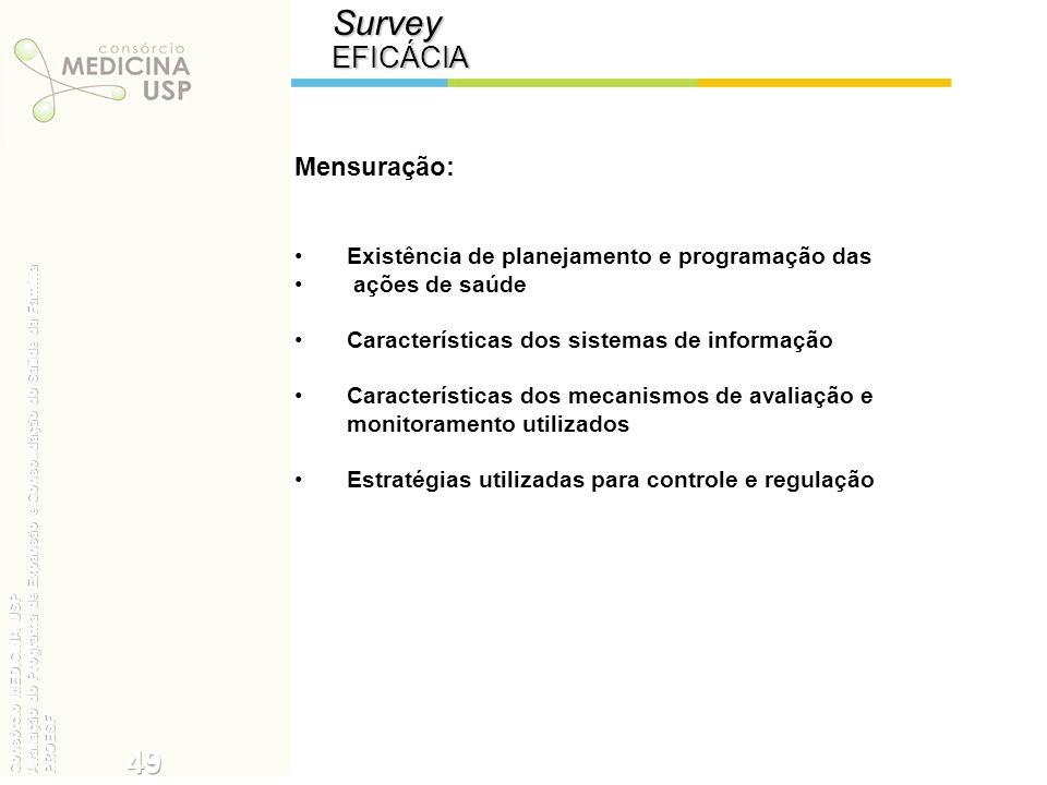 SurveyEFICÁCIA Mensuração: Existência de planejamento e programação das ações de saúde Características dos sistemas de informação Características dos