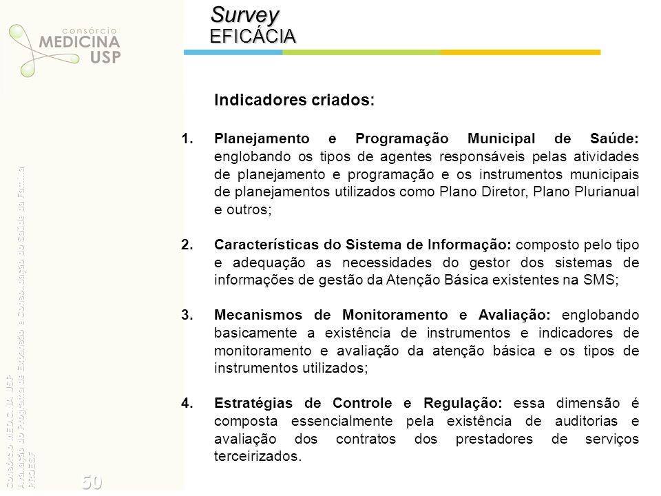 SurveyEFICÁCIA Indicadores criados: 1.Planejamento e Programação Municipal de Saúde: englobando os tipos de agentes responsáveis pelas atividades de p