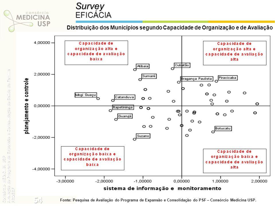 SurveyEFICÁCIA Distribuição dos Municípios segundo Capacidade de Organização e de Avaliação Fonte: Pesquisa de Avaliação do Programa de Expansão e Con
