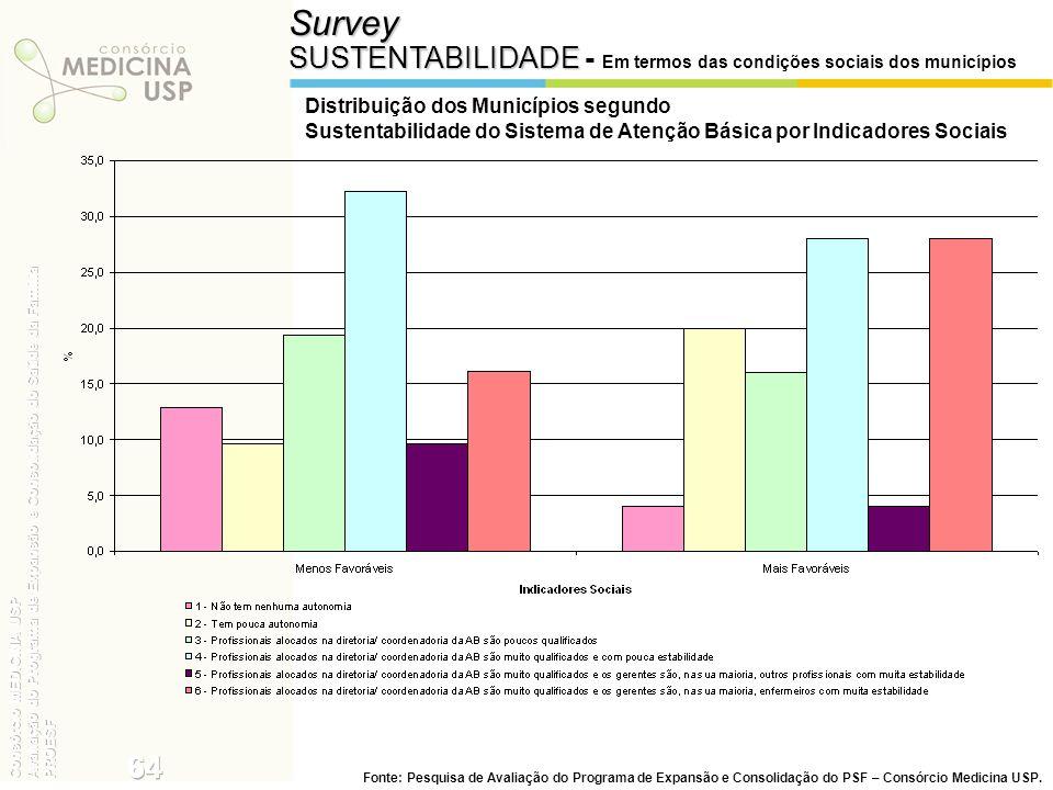 Survey SUSTENTABILIDADE SUSTENTABILIDADE - Em termos das condições sociais dos municípios Distribuição dos Municípios segundo Sustentabilidade do Sist