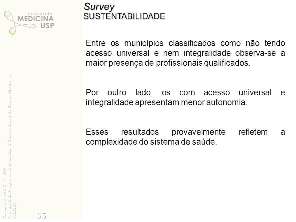 SurveySUSTENTABILIDADE Entre os municípios classificados como não tendo acesso universal e nem integralidade observa-se a maior presença de profission