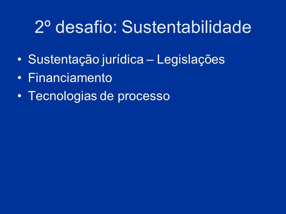 2º desafio: Sustentabilidade Sustentação jurídica – Legislações Financiamento Tecnologias de processo