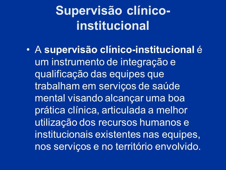 Supervisão clínico- institucional A supervisão clínico-institucional é um instrumento de integração e qualificação das equipes que trabalham em serviç
