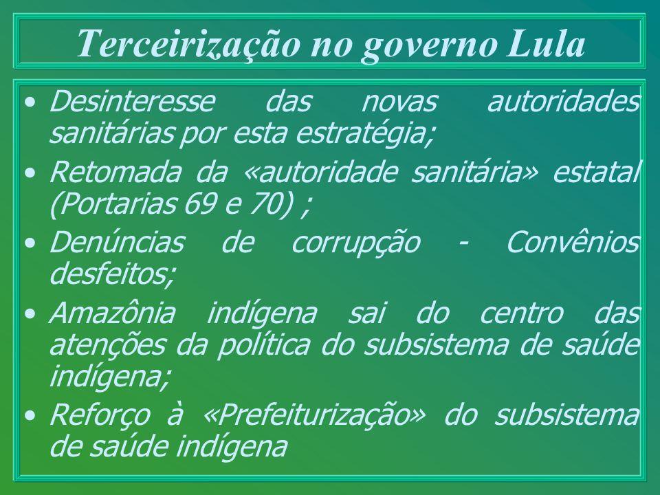 Terceirização no governo Lula Desinteresse das novas autoridades sanitárias por esta estratégia; Retomada da «autoridade sanitária» estatal (Portarias