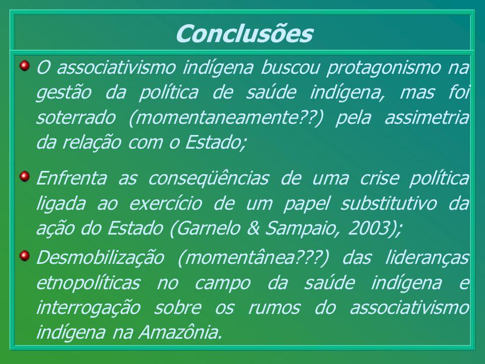 Conclusões O associativismo indígena buscou protagonismo na gestão da política de saúde indígena, mas foi soterrado (momentaneamente??) pela assimetri