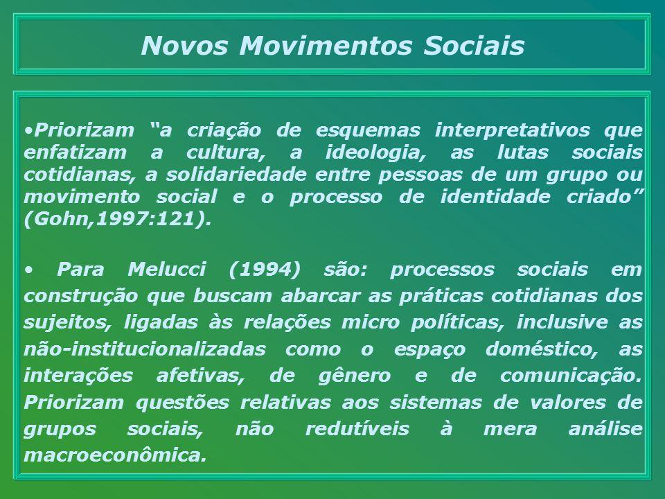Novos Movimentos Sociais Priorizam a criação de esquemas interpretativos que enfatizam a cultura, a ideologia, as lutas sociais cotidianas, a solidari
