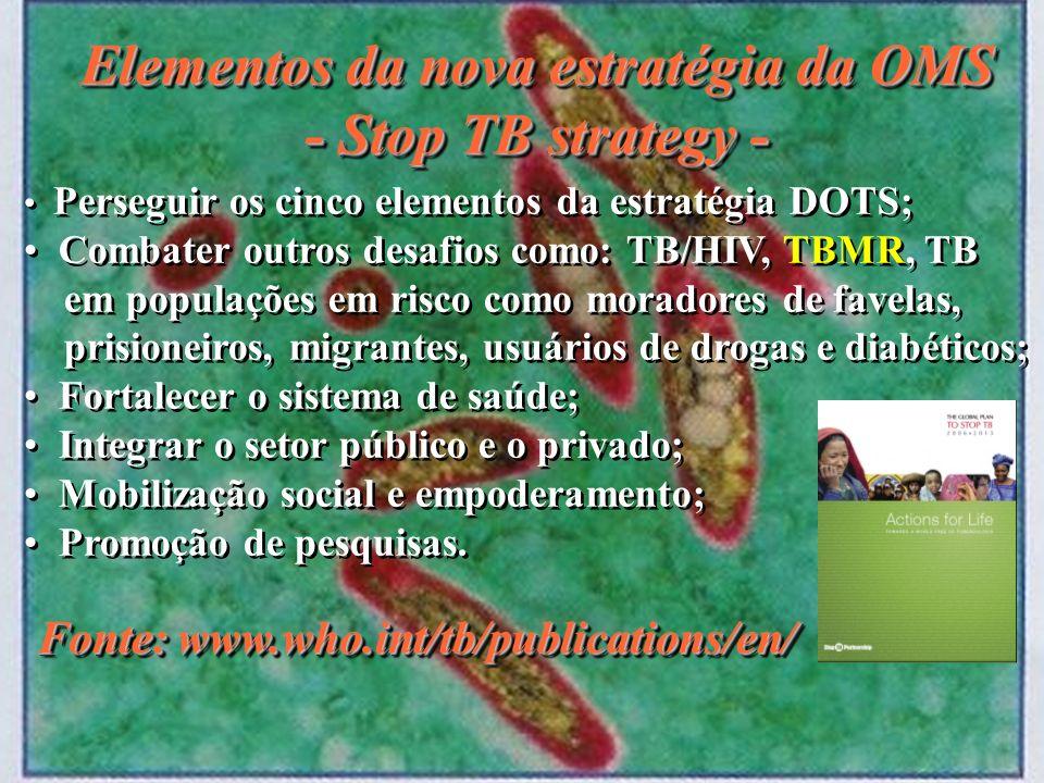Elementos da nova estratégia da OMS - Stop TB strategy - Elementos da nova estratégia da OMS - Stop TB strategy - Fonte: www.who.int/tb/publications/e
