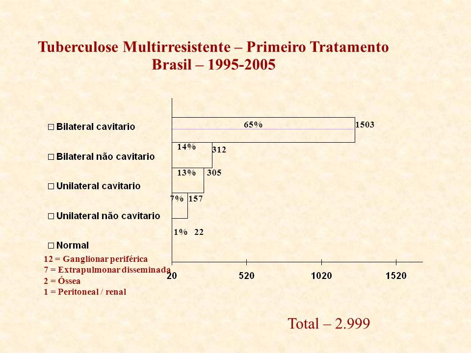 157 305 312 1503 1% 22 13% 14% 7% 65% Tuberculose Multirresistente – Primeiro Tratamento Brasil – 1995-2005 12 = Ganglionar periférica 7 = Extrapulmon