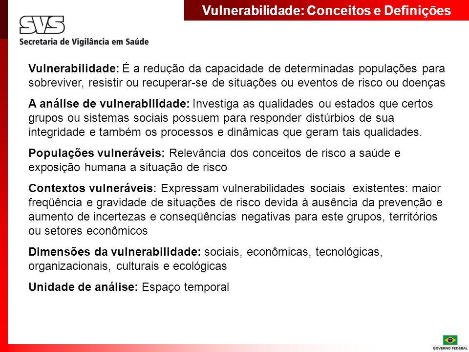 Vulnerabilidade: Conceitos e Definições Vulnerabilidade: É a redução da capacidade de determinadas populações para sobreviver, resistir ou recuperar-s