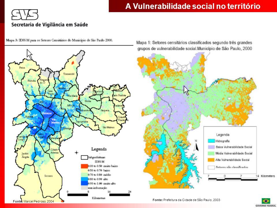 A Vulnerabilidade social no território Fonte: Prefeitura da Cidade de São Paulo, 2003 Fonte: Marcel Pedroso, 2004