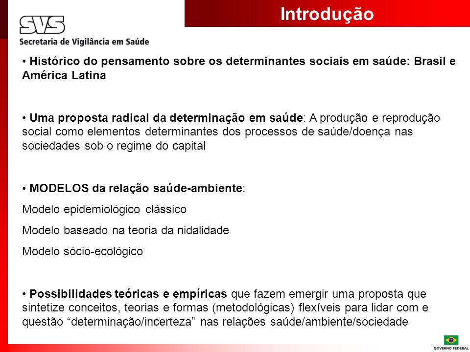 Introdução Histórico do pensamento sobre os determinantes sociais em saúde: Brasil e América Latina Uma proposta radical da determinação em saúde: A p
