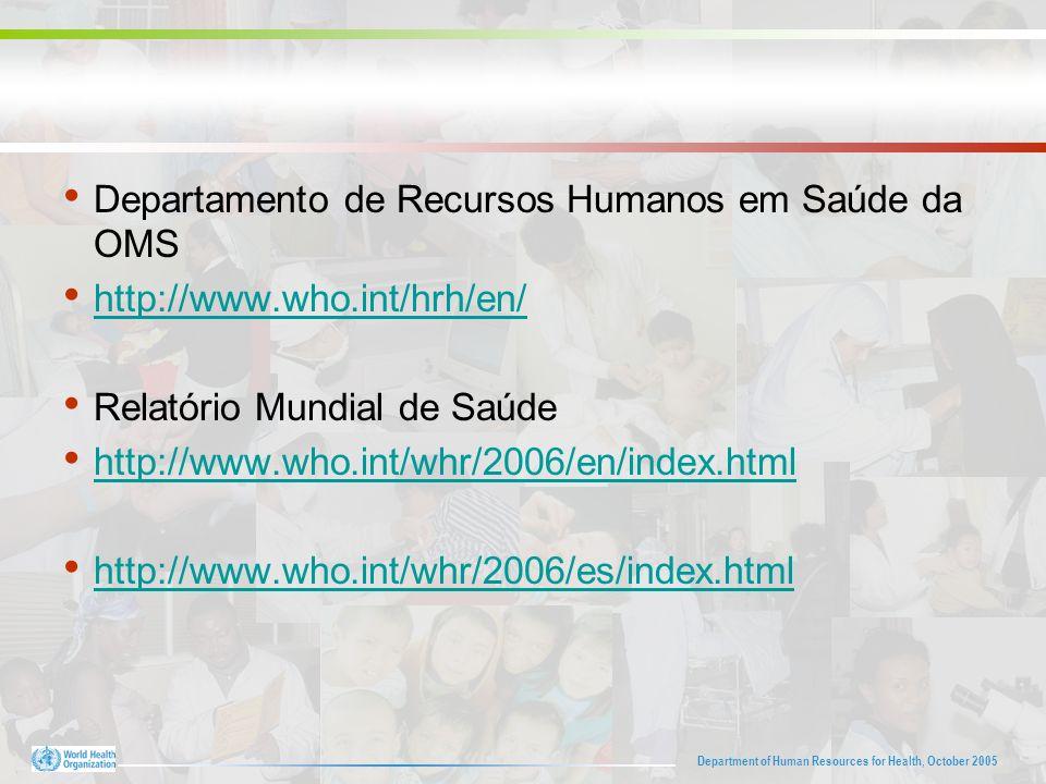 Department of Human Resources for Health, October 2005 Departamento de Recursos Humanos em Saúde da OMS http://www.who.int/hrh/en/ Relatório Mundial de Saúde http://www.who.int/whr/2006/en/index.html http://www.who.int/whr/2006/es/index.html