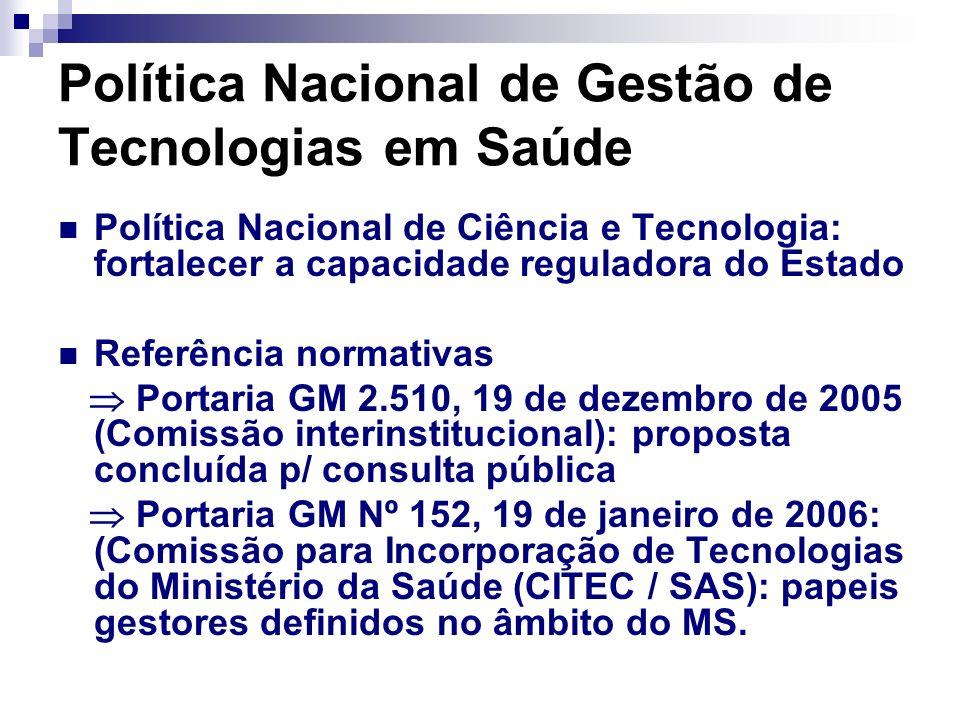 Política Nacional de Gestão de Tecnologias em Saúde Política Nacional de Ciência e Tecnologia: fortalecer a capacidade reguladora do Estado Referência