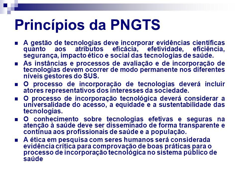 Princípios da PNGTS A gestão de tecnologias deve incorporar evidências científicas quanto aos atributos eficácia, efetividade, eficiência, segurança,