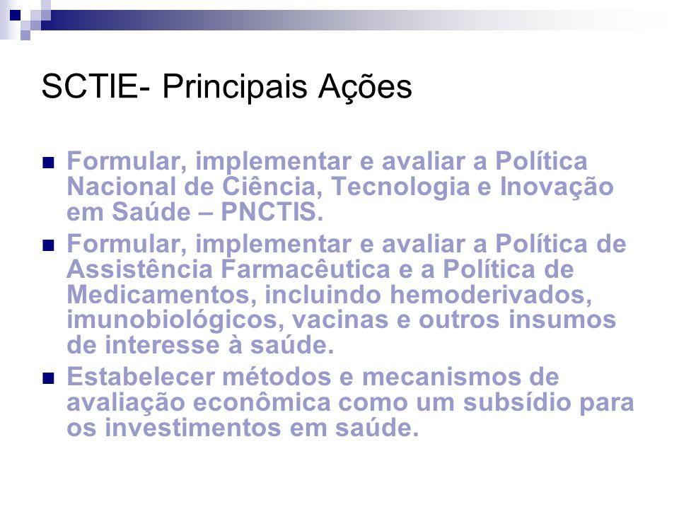 Marcos Institucionais de C&T/S 2004: 2ª Conferência Nacional de Ciência, Tecnologia e Inovação em Saúde Política Nacional de Ciência, Tecnologia e Inovação em Saúde- PNCTIS.