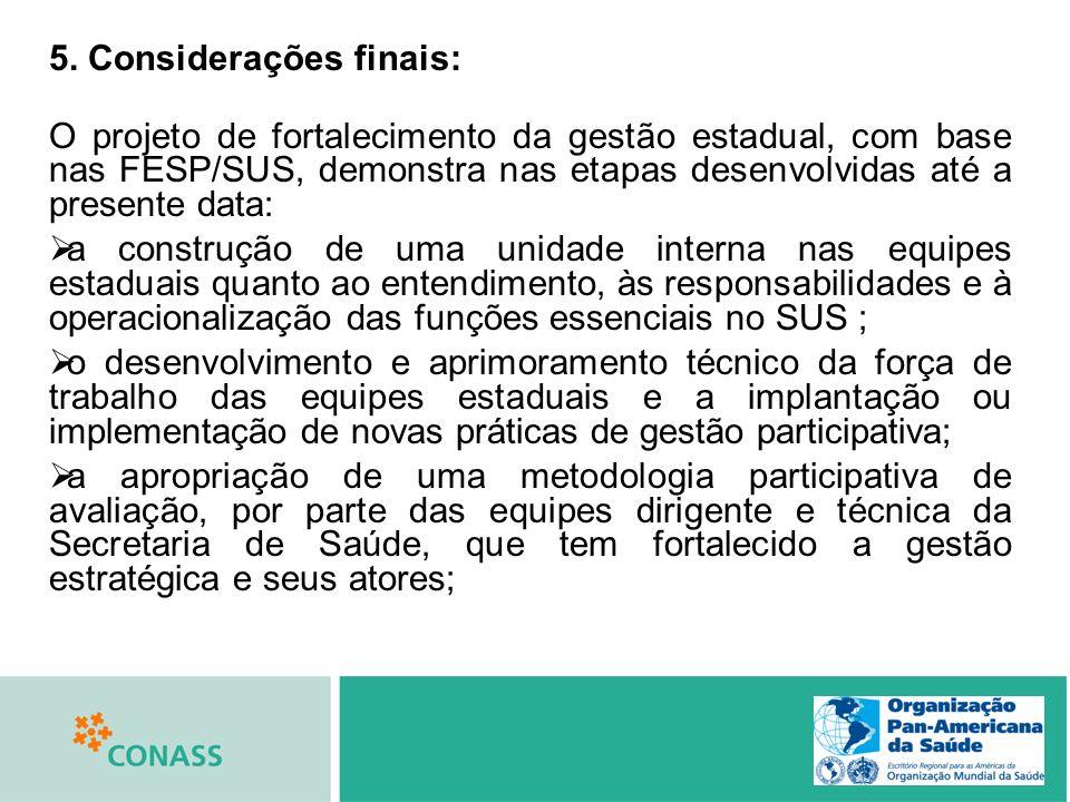 5. Considerações finais: O projeto de fortalecimento da gestão estadual, com base nas FESP/SUS, demonstra nas etapas desenvolvidas até a presente data