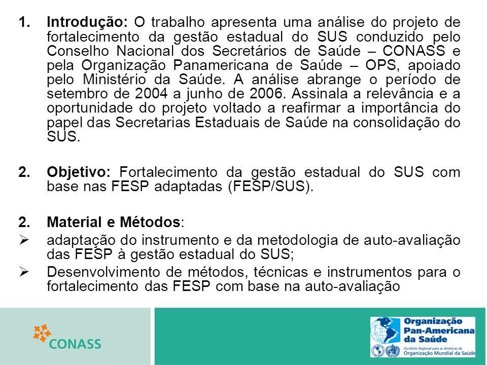 1.Introdução: O trabalho apresenta uma análise do projeto de fortalecimento da gestão estadual do SUS conduzido pelo Conselho Nacional dos Secretários