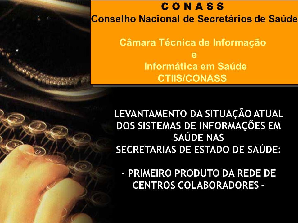C O N A S S Conselho Nacional de Secretários de Saúde Câmara Técnica de Informação e Informática em Saúde CTIIS/CONASS C O N A S S Conselho Nacional d