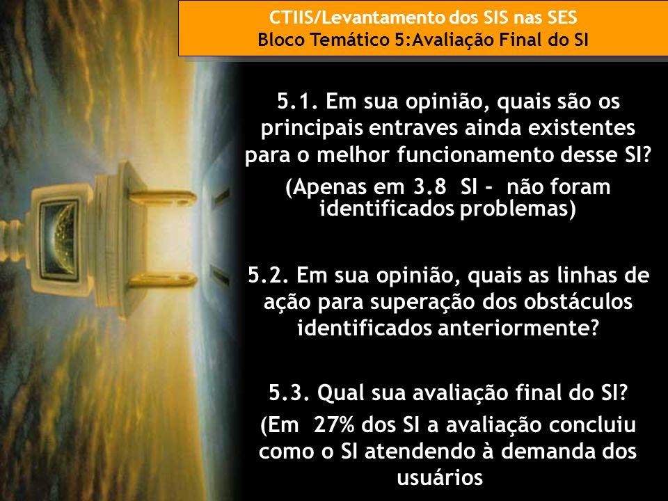 CTIIS/Levantamento dos SIS nas SES Bloco Temático 5:Avaliação Final do SI CTIIS/Levantamento dos SIS nas SES Bloco Temático 5:Avaliação Final do SI 5.