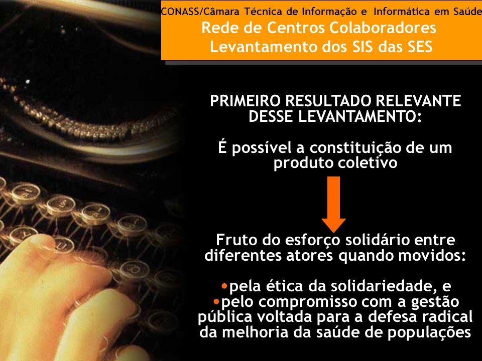 CONASS/Câmara Técnica de Informação e Informática em Saúde Rede de Centros Colaboradores Levantamento dos SIS das SES CONASS/Câmara Técnica de Informa