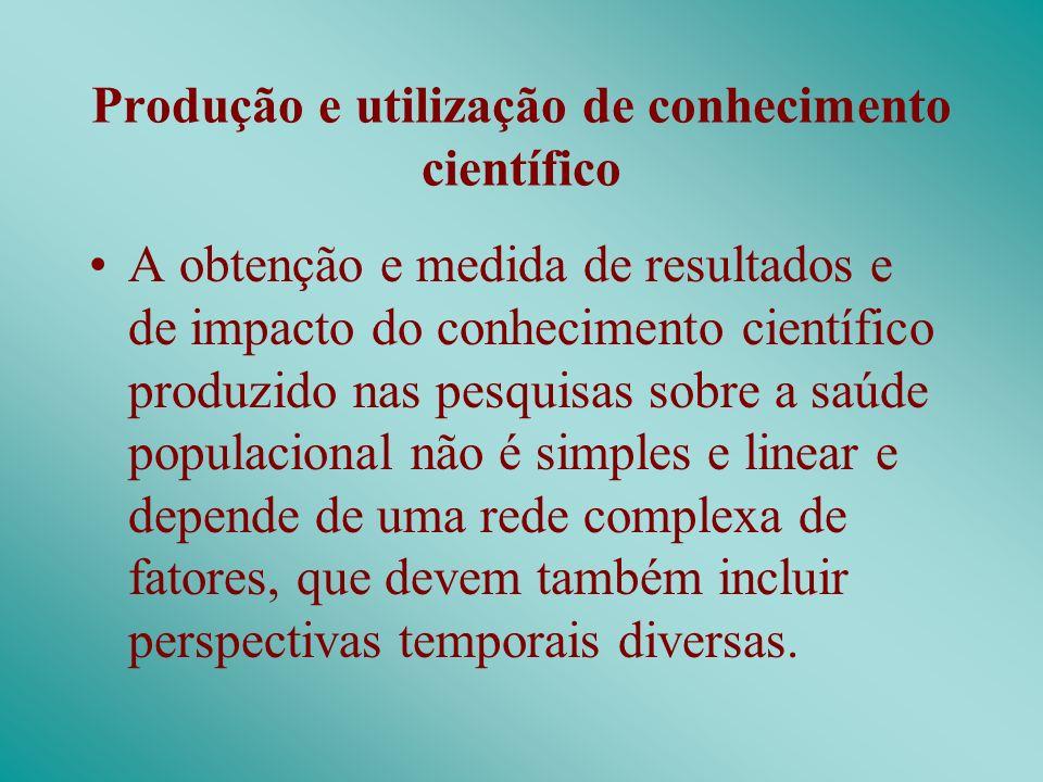 Produção e utilização de conhecimento científico A obtenção e medida de resultados e de impacto do conhecimento científico produzido nas pesquisas sob