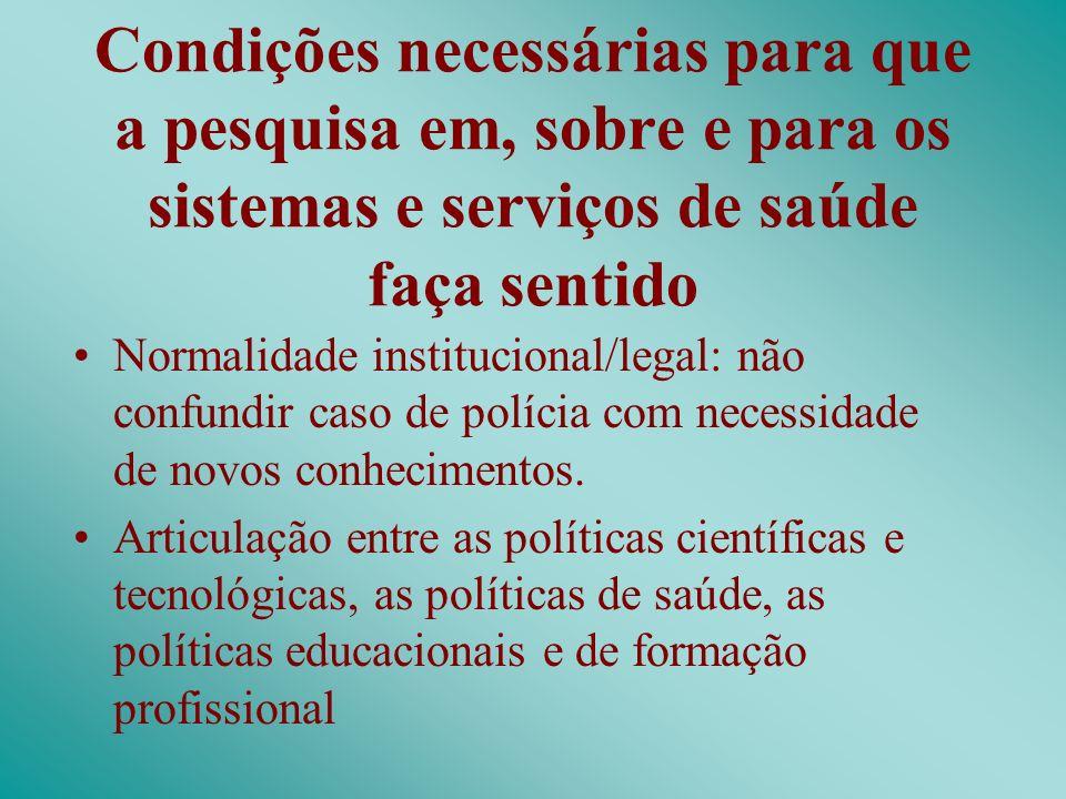 Condições necessárias para que a pesquisa em, sobre e para os sistemas e serviços de saúde faça sentido Normalidade institucional/legal: não confundir