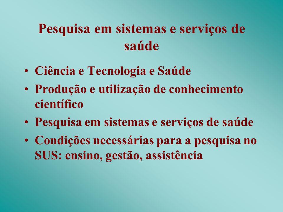 Pesquisa em sistemas e serviços de saúde Ciência e Tecnologia e Saúde Produção e utilização de conhecimento científico Pesquisa em sistemas e serviços