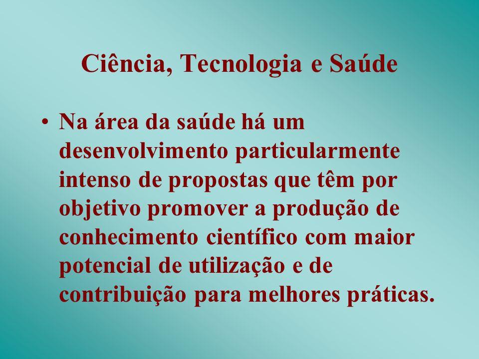 Ciência, Tecnologia e Saúde Na área da saúde há um desenvolvimento particularmente intenso de propostas que têm por objetivo promover a produção de co