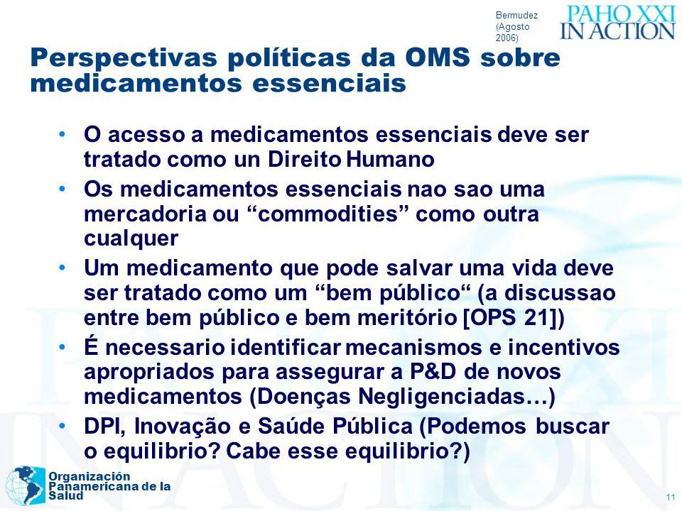 Bermudez (Agosto 2006) Organización Panamericana de la Salud 11 Perspectivas políticas da OMS sobre medicamentos essenciais O acesso a medicamentos es