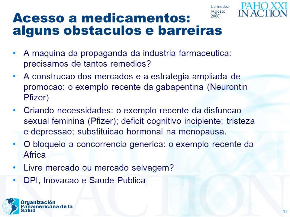 Bermudez (Agosto 2006) Organización Panamericana de la Salud 13 Acesso a medicamentos: alguns obstaculos e barreiras A maquina da propaganda da indust