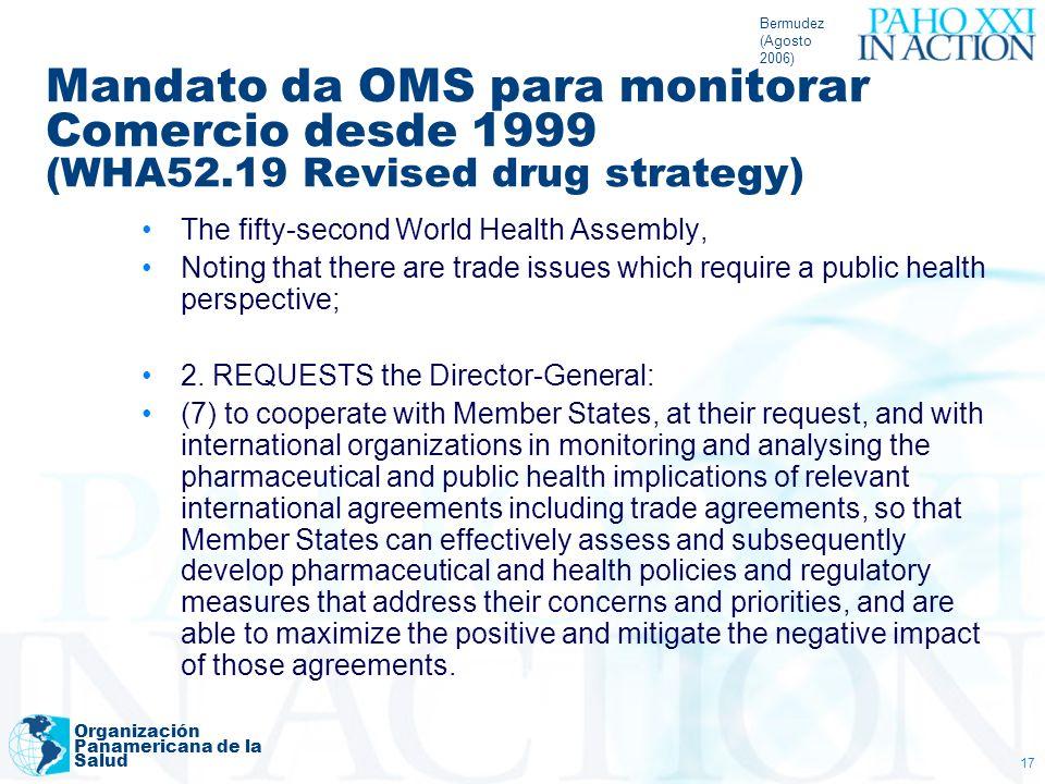 Bermudez (Agosto 2006) Organización Panamericana de la Salud 17 Mandato da OMS para monitorar Comercio desde 1999 (WHA52.19 Revised drug strategy) The