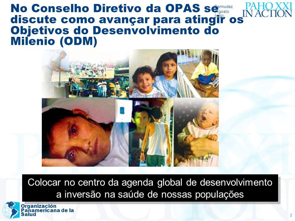 Bermudez (Agosto 2006) Organización Panamericana de la Salud 2 No Conselho Diretivo da OPAS se discute como avançar para atingir os Objetivos do Desen