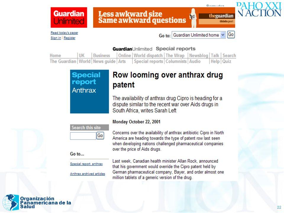 Bermudez (Agosto 2006) Organización Panamericana de la Salud 22