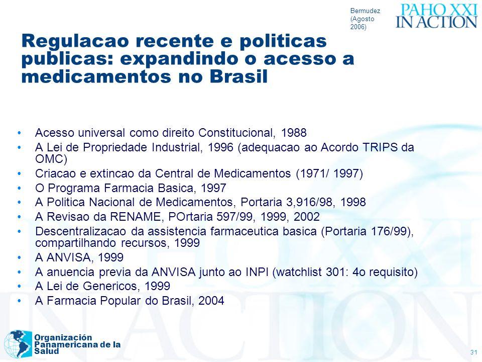 Bermudez (Agosto 2006) Organización Panamericana de la Salud 31 Regulacao recente e politicas publicas: expandindo o acesso a medicamentos no Brasil A