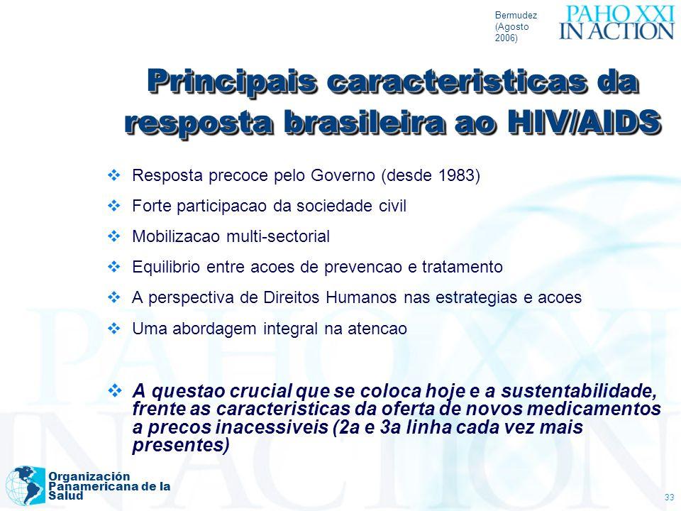 Bermudez (Agosto 2006) Organización Panamericana de la Salud 33 Principais caracteristicas da resposta brasileira ao HIV/AIDS Resposta precoce pelo Go