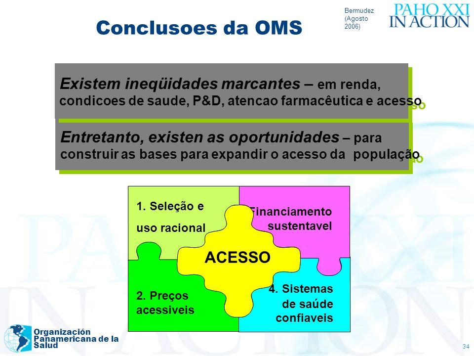 Bermudez (Agosto 2006) Organización Panamericana de la Salud 34 Entretanto, existen as oportunidades – para construir as bases para expandir o acesso