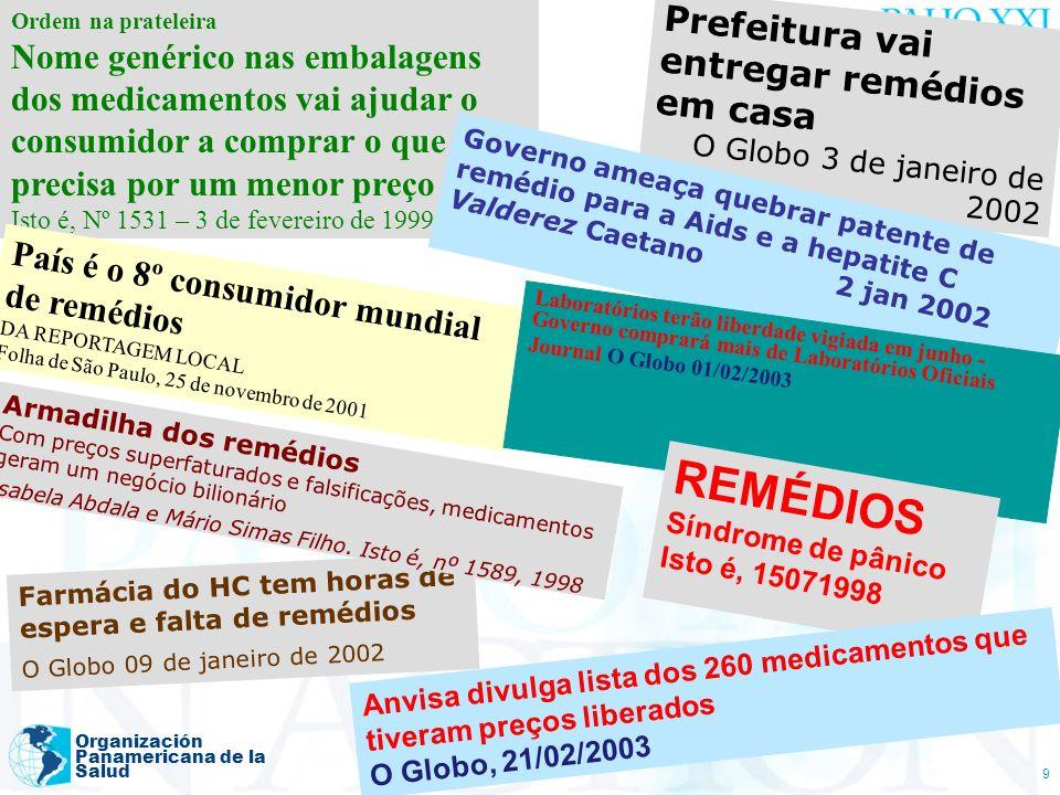 Bermudez (Agosto 2006) Organización Panamericana de la Salud 9 Ordem na prateleira Nome genérico nas embalagens dos medicamentos vai ajudar o consumid