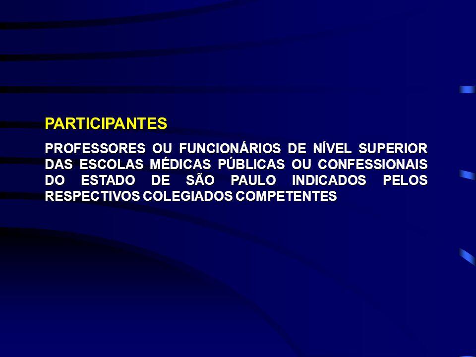 PARTICIPANTES PROFESSORES OU FUNCIONÁRIOS DE NÍVEL SUPERIOR DAS ESCOLAS MÉDICAS PÚBLICAS OU CONFESSIONAIS DO ESTADO DE SÃO PAULO INDICADOS PELOS RESPE