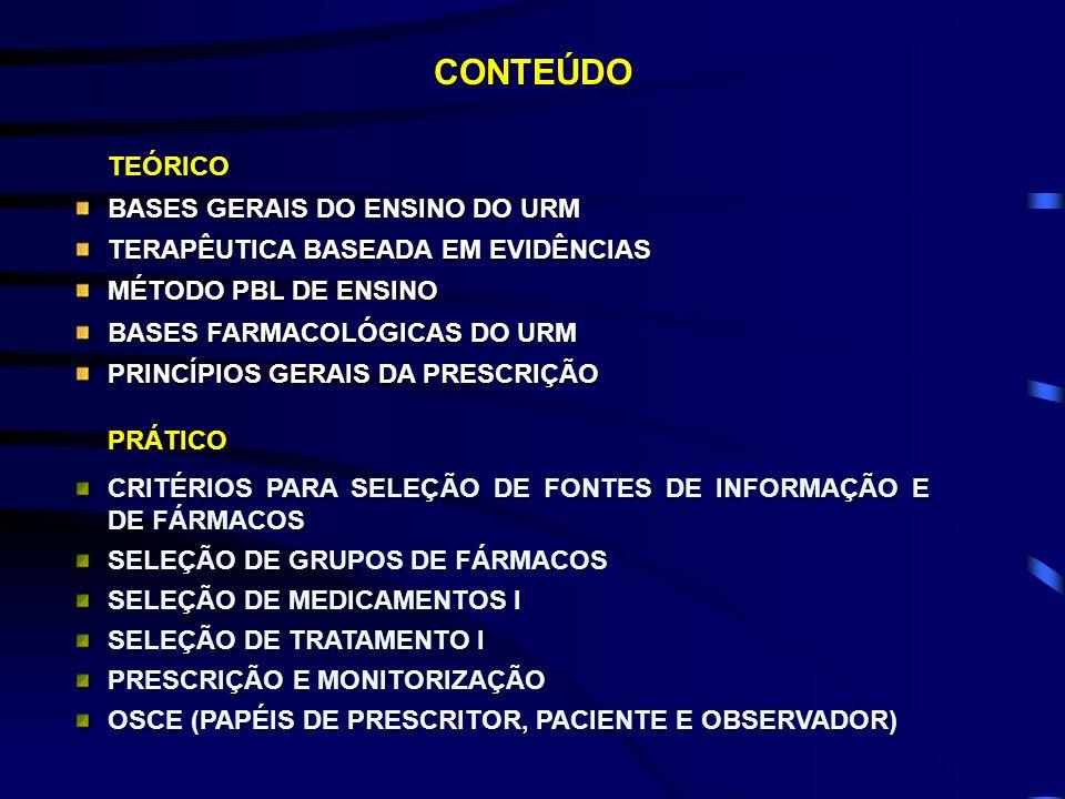 CONTEÚDOTEÓRICO BASES GERAIS DO ENSINO DO URM TERAPÊUTICA BASEADA EM EVIDÊNCIAS MÉTODO PBL DE ENSINO BASES FARMACOLÓGICAS DO URM PRINCÍPIOS GERAIS DA