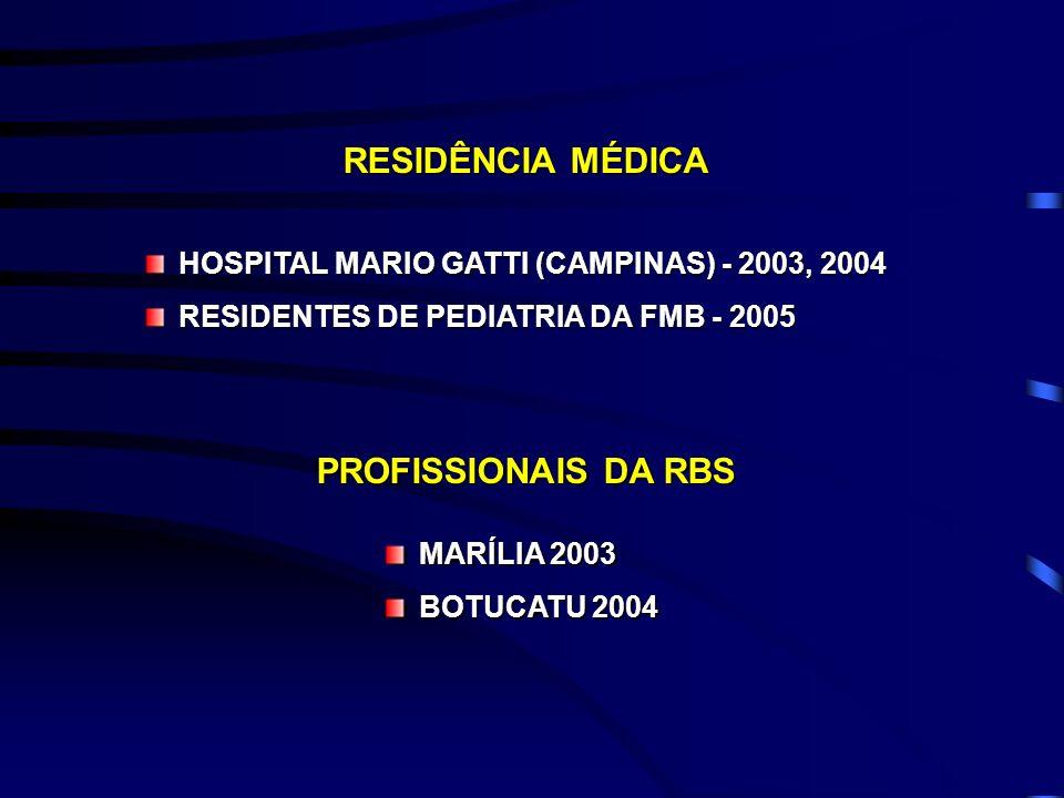 RESIDÊNCIA MÉDICA HOSPITAL MARIO GATTI (CAMPINAS) - 2003, 2004 RESIDENTES DE PEDIATRIA DA FMB - 2005 PROFISSIONAIS DA RBS MARÍLIA 2003 BOTUCATU 2004