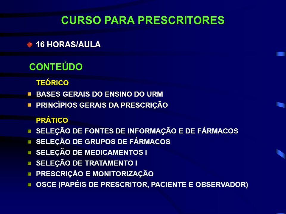 CONTEÚDO TEÓRICO BASES GERAIS DO ENSINO DO URM PRINCÍPIOS GERAIS DA PRESCRIÇÃO PRÁTICO SELEÇÃO DE FONTES DE INFORMAÇÃO E DE FÁRMACOS SELEÇÃO DE GRUPOS