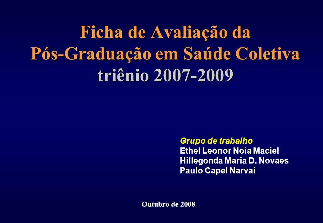 Ficha de Avaliação da Pós-Graduação em Saúde Coletiva triênio 2007-2009 Grupo de trabalho Ethel Leonor Noia Maciel Hillegonda Maria D. Novaes Paulo Ca