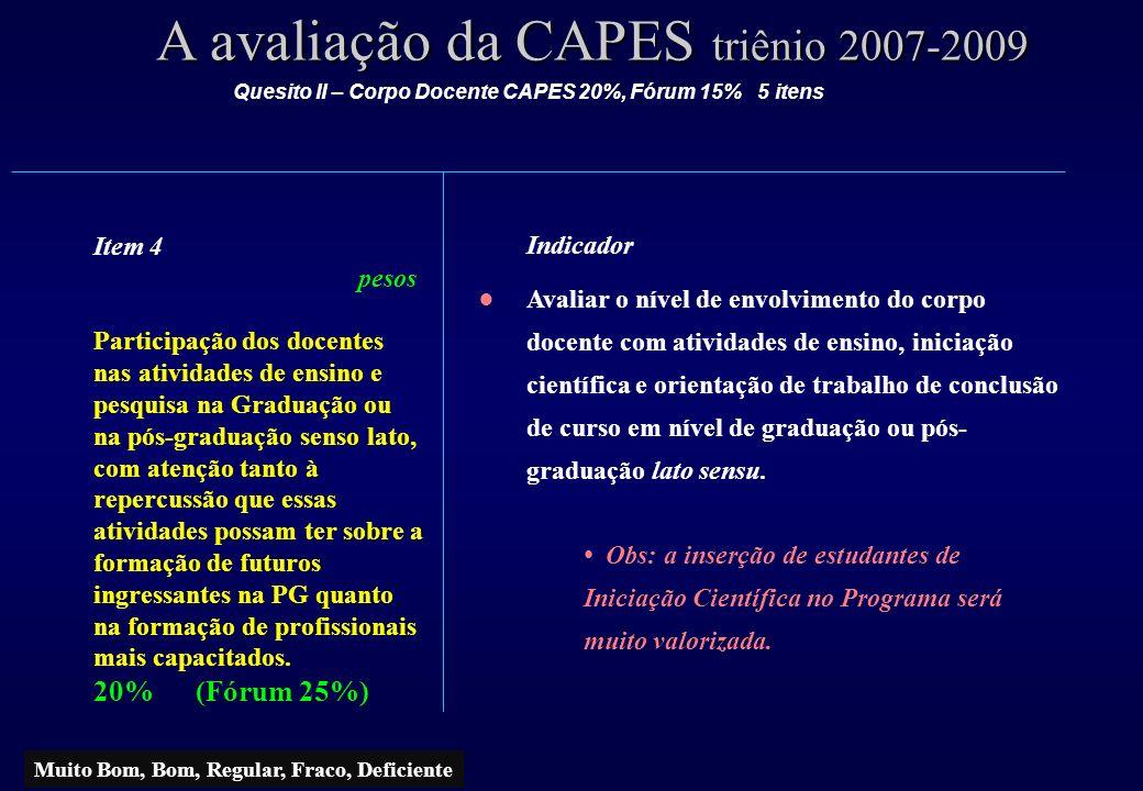A avaliação da CAPES triênio 2007-2009 Item 4 pesos Participação dos docentes nas atividades de ensino e pesquisa na Graduação ou na pós-graduação sen