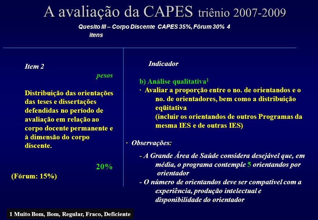 A avaliação da CAPES triênio 2007-2009 Item 2 pesos Distribuição das orientações das teses e dissertações defendidas no período de avaliação em relação ao corpo docente permanente e à dimensão do corpo discente.