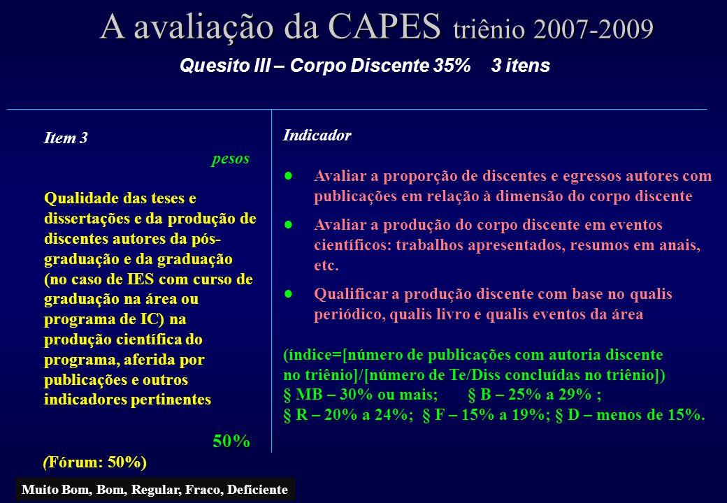A avaliação da CAPES triênio 2007-2009 Item 3 pesos 0% Qualidade das teses e dissertações e da produção de discentes autores da pós- graduação e da gr
