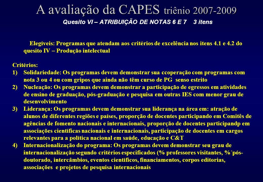 Quesito VI – ATRIBUIÇÃO DE NOTAS 6 E 7 3 itens A avaliação da CAPES triênio 2007-2009 Elegíveis: Programas que atendam aos critérios de excelência nos