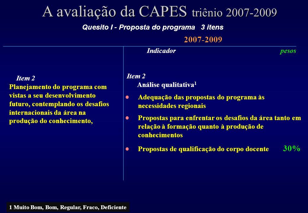 A avaliação da CAPES triênio 2007-2009 2007-2009 Item 2 Planejamento do programa com vistas a seu desenvolvimento futuro, contemplando os desafios int