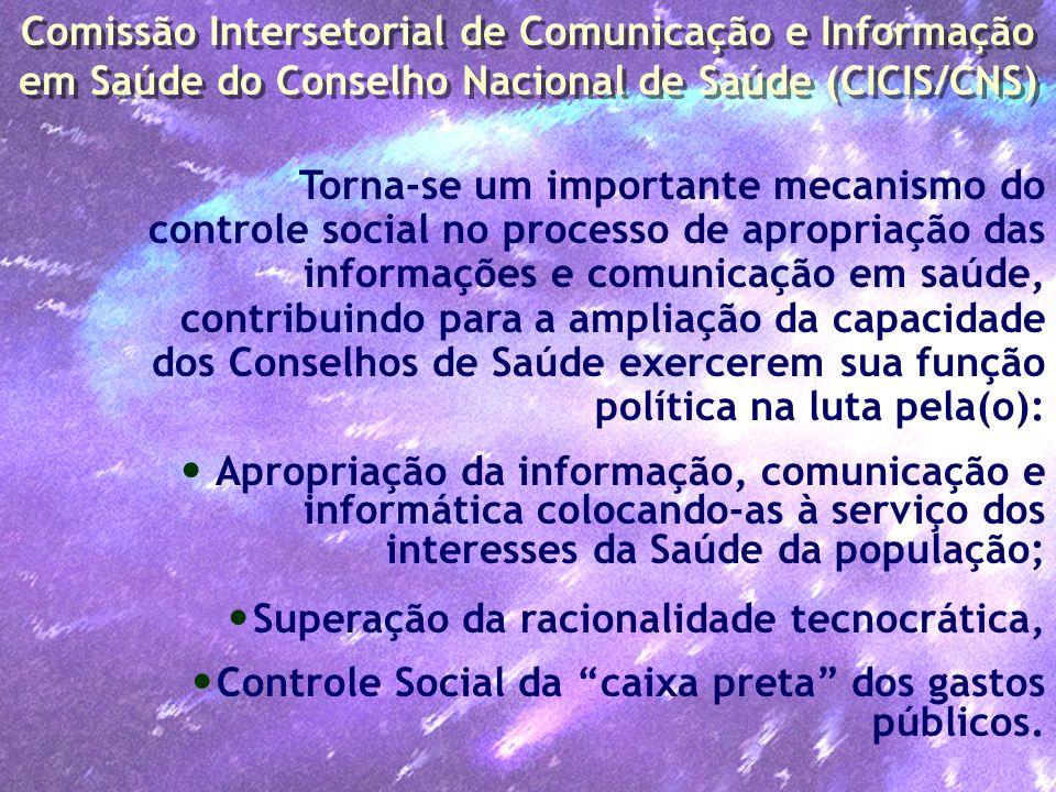 Torna-se um importante mecanismo do controle social no processo de apropriação das informações e comunicação em saúde, contribuindo para a ampliação d