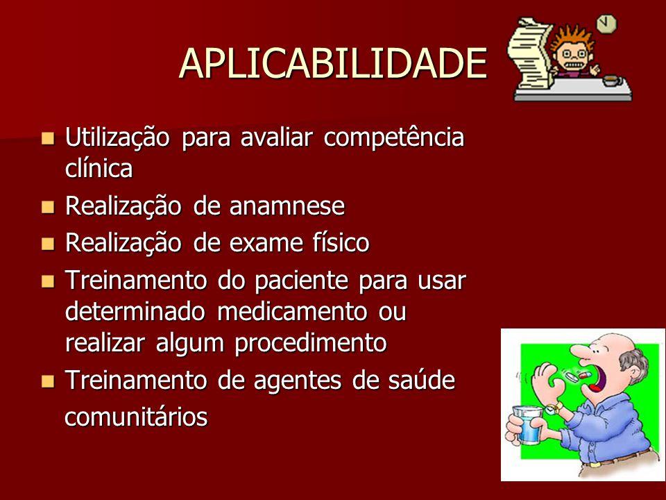 APLICABILIDADE Utilização para avaliar competência clínica Utilização para avaliar competência clínica Realização de anamnese Realização de anamnese R