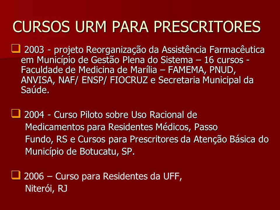 CURSOS URM PARA PRESCRITORES 2003 - projeto Reorganização da Assistência Farmacêutica em Município de Gestão Plena do Sistema – 16 cursos - Faculdade
